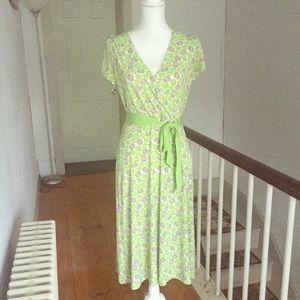 Merona Lime Green and Tan Faux Wrap Dress